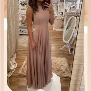 Pink Chiffon Full Length Spaghetti Strap Dress